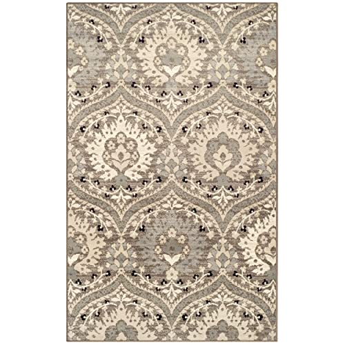Superior Elegant Augusta Area Rug, Floral Scalloped Contemporary Pattern, 5 x 8 , Light Blue