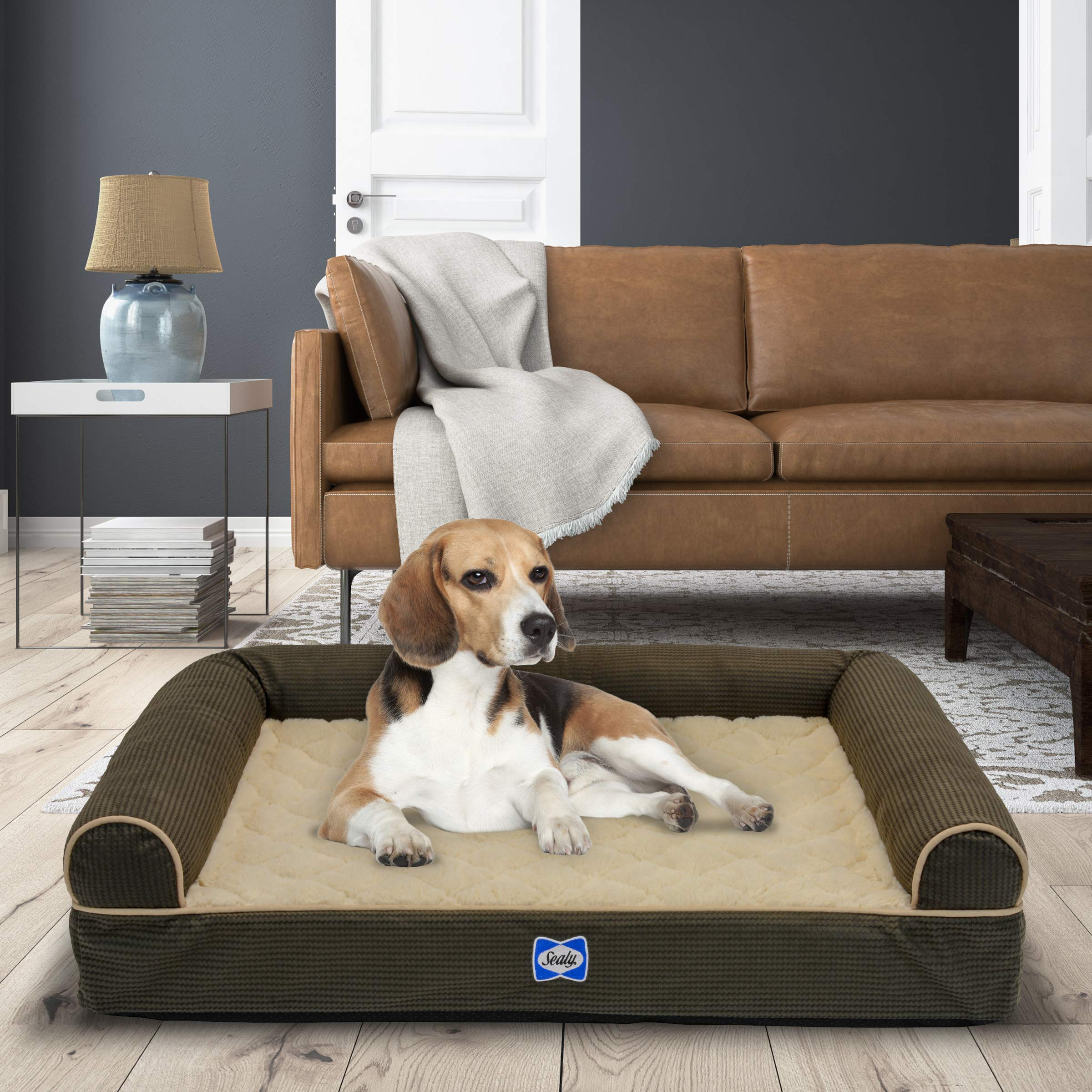Sealy Ultra Plush Sofa-Style Bolster Dog Bed Brown, Small - Orthopedic Foam Pet Bed with Machine Washable Plush Cover