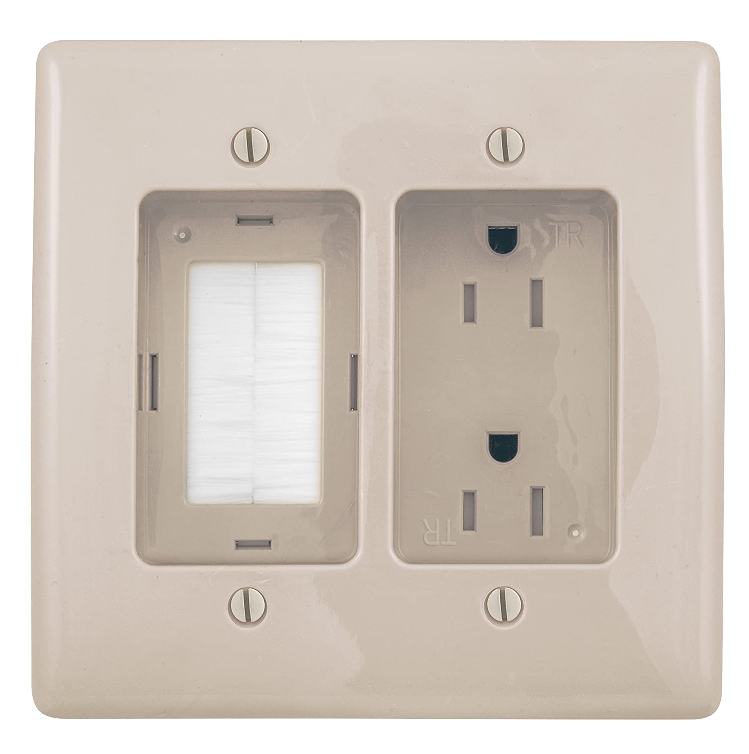Bryant Electric RR1512LA 2-Gang Recessed TV Connection Outlet Plate with 15 Amp 125V T&er-Resistant Duplex Receptacle with One Pass-Thru Opening Light ...  sc 1 st  Amazon.com & Bryant Electric RR1512LA 2-Gang Recessed TV Connection Outlet Plate ...