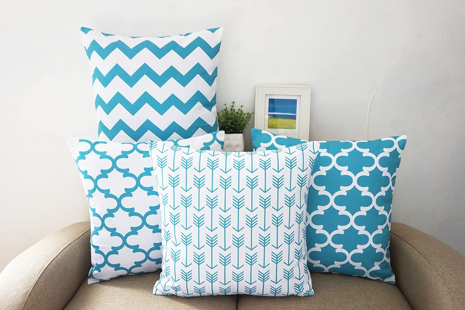 amazoncom howarmer® canvas cotton aqua blue decorative throw  - amazoncom howarmer® canvas cotton aqua blue decorative throw pillowscover set of  geometric pattern cushion cover for couch  x  bluetrellis chain