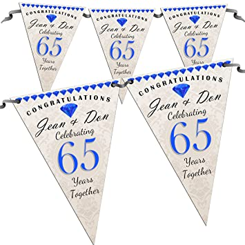 Personalised 65th Wedding Anniversary Congratulations Party Flag Banner Bunting N56