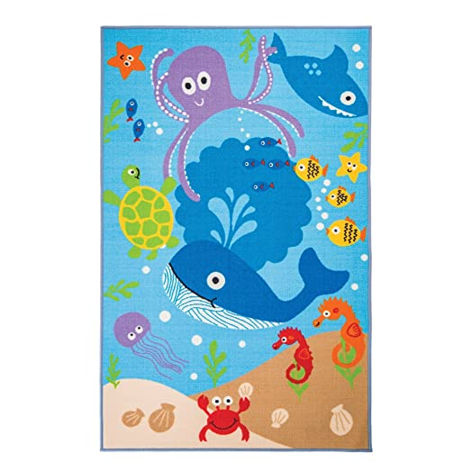 Flair Rugs Matrix Kiddy Under The Sea Childrens Rug, Blue, 100 X 160 Cm