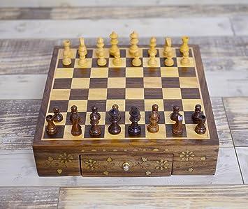 Rusticity Caja de ajedrez de madera con piezas de ajedrez, 2 ...
