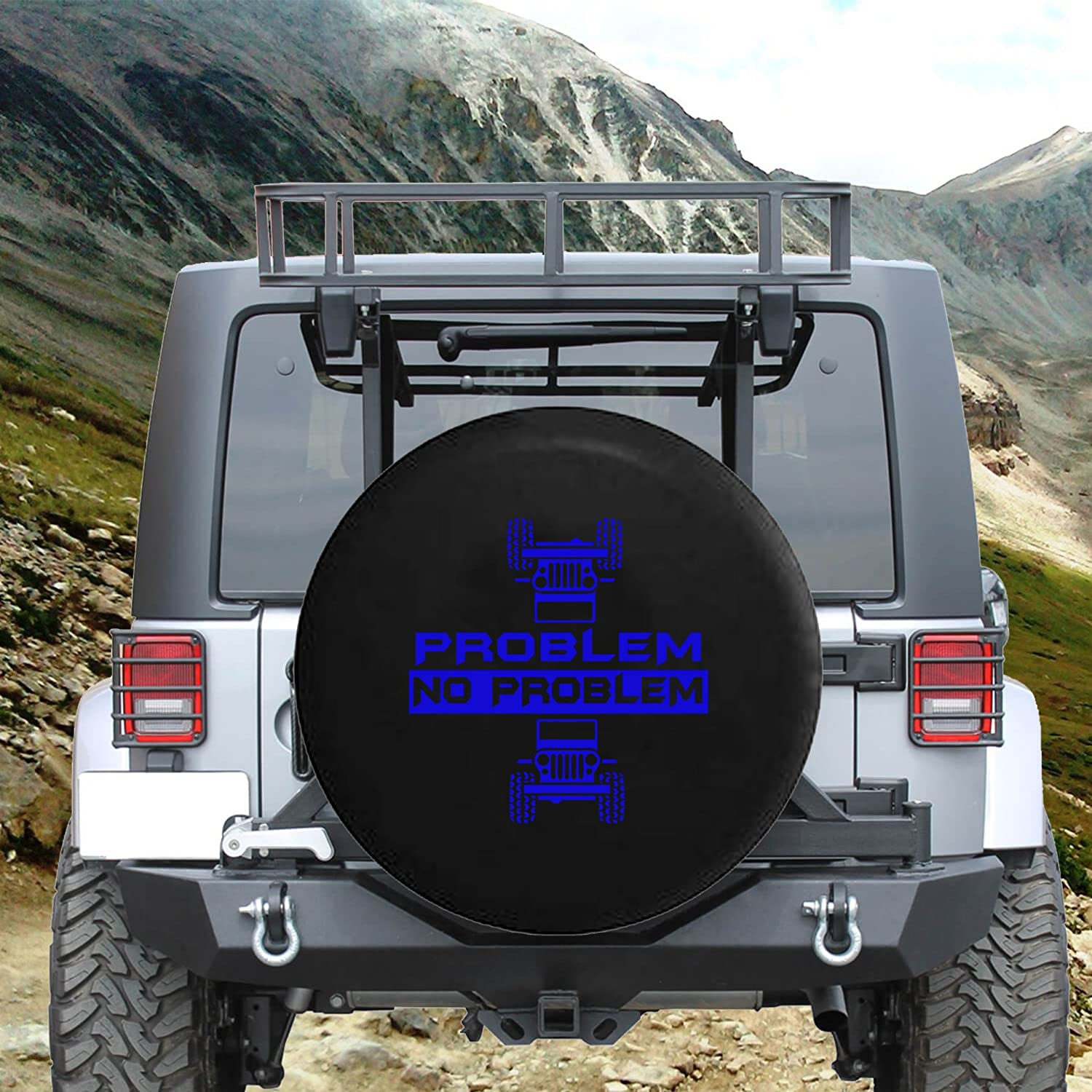 Problem No Problem Rolled /& Flipped Spare Jeep Wrangler Camper SUV Tire Cover Red Ink 35 in Silver Back Covers