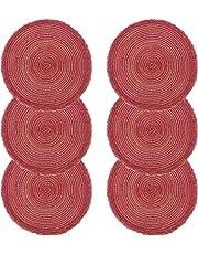 U'artlines Lot de 6 Set de Table Coton Tressé Lavable Résistantes à la Chaleur Antidérapant, Set de Table Rond