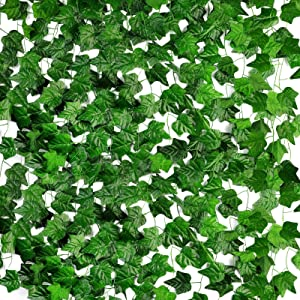 JUSTDOLIFE 12 Pack 90.5Ft Artificial Ivy Artificial Fake Vines Ivy Vine Hanging Plant Ivy Vine Fake Ivy Vines for Room Wall Wedding Party Office Decor