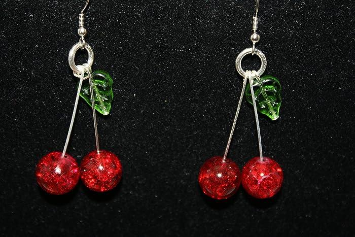761bdb18e3ead Lolita Rockabilly 50's Pin Up Cherry Dangle Earrings Handmade Cherry Bomb  Rockabilly Dangle Earrings Ruby Red Crackle Glass VERSION 2