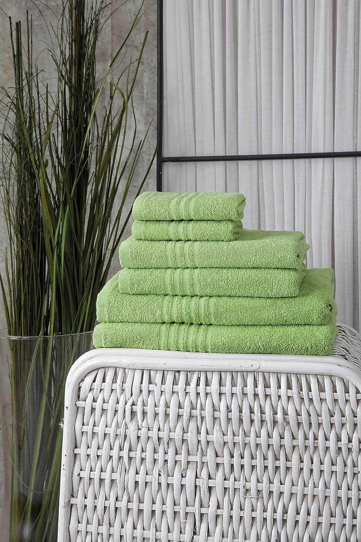 Farbe:Apfelgr/ün Mixibaby Handtuch 6er Set 2X Duschtuch 2X Handtuch 2X G/ästetuch 100/% Baumwolle Frottee
