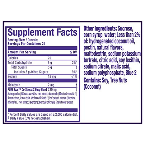 Amazon.com: Vicks ZzzQuil Pure Zzzs Beauty Sleep Melatonin Gummies Sleep Aid with Ginger, Grape Seed Extract, Chamomile, Lavender, 42 Count: Health ...