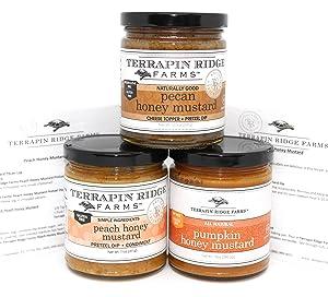 Terrapin Ridge Farms Honey Mustard Gourmet Sampler Pack Set of 3 Jars with Recipe Cards - Pecan Honey Mustard - Peach Honey Mustard - Pumpkin Honey Mustard