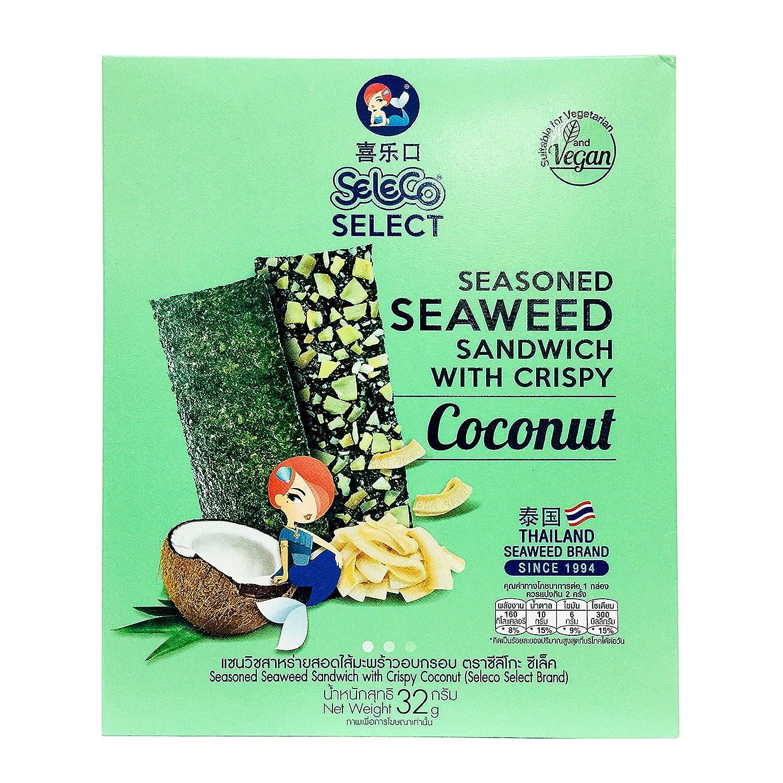 SELECO Seaweed Snacks   Seasoned Seaweed Sandwich & Crispy Coconut / Asian Snacks - Korean Snacks - Coconut Snacks - Seaweed Chips - Seaweed Snack - Korean Food - Kombu - Healthy Snacks (Pack of 1)