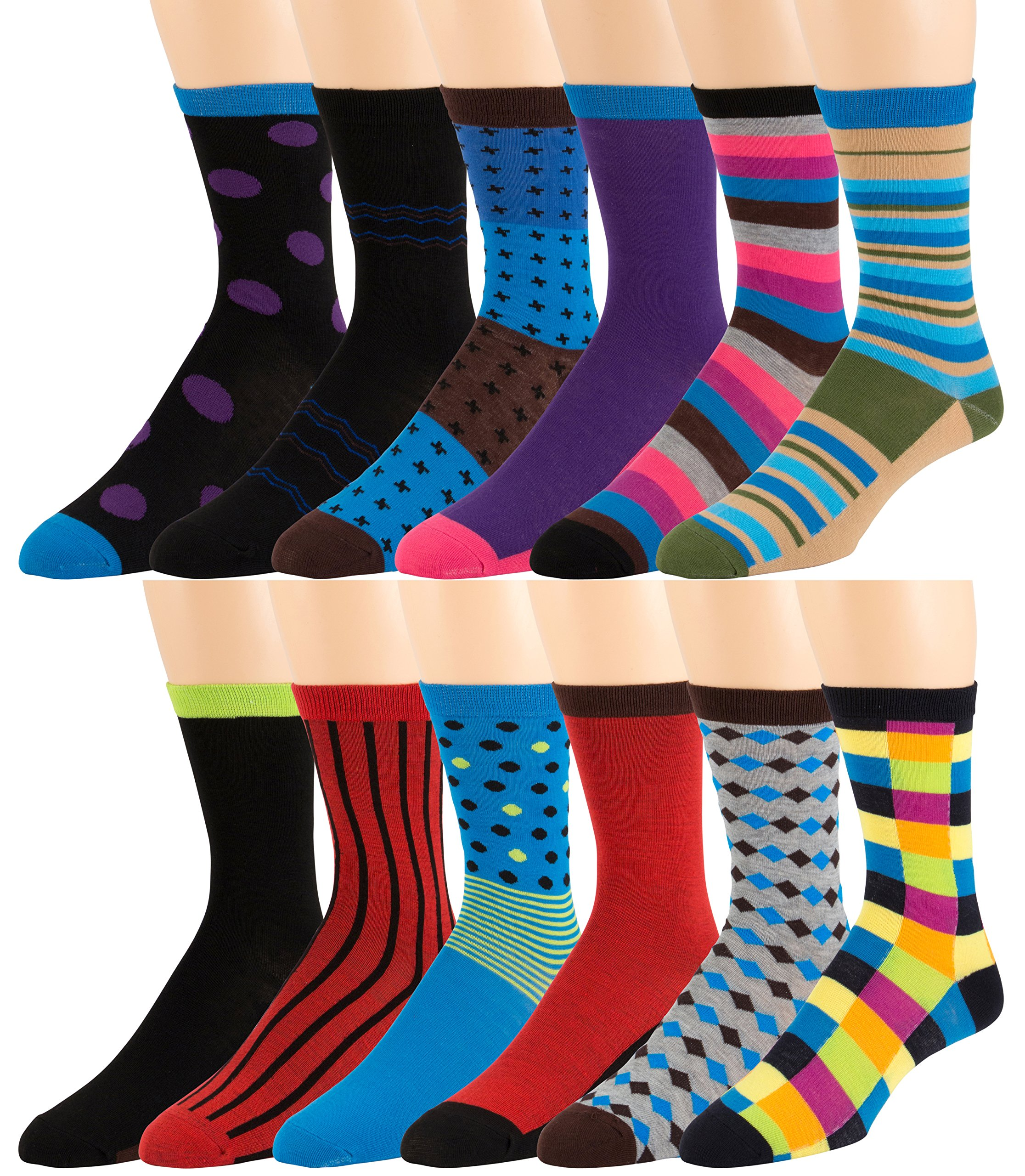 Men's Pattern Dress Funky Fun Colorful Socks 12 Assorted Patterns, Fits Shoe Size 6-12