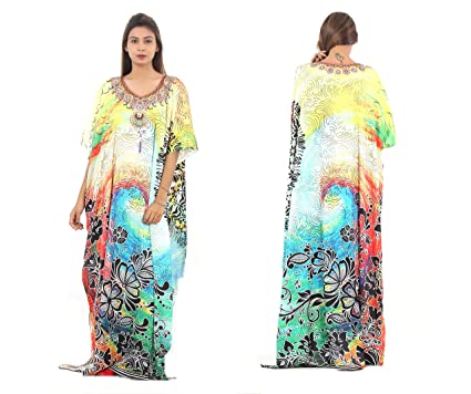 07a3f51932 Silk Kaftan one Piece Dress Jeweled/Handmade/Caftan Beach Cover up hot Look  Luxuries