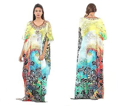 93b4567cc22 Silk Kaftan one Piece Dress Jeweled Handmade Caftan Beach Cover up hot Look  Luxuries