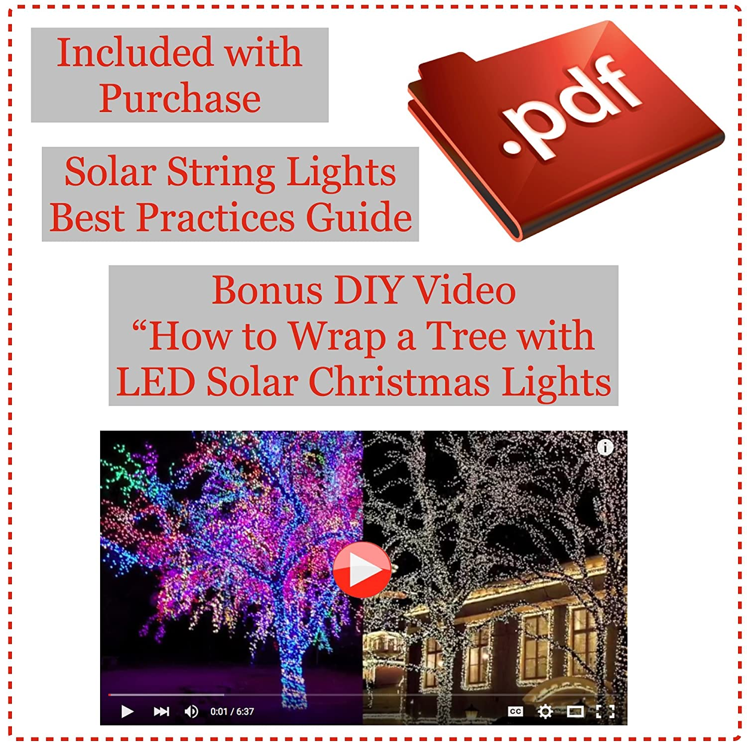 Solar Line Lights Part - 35: DeVida Solar String Lights 120 Warm White LED, Easy To Install,  Automatically Turns On At Night, Outdoor Waterproof, 55 Ft Set Includes 13  Ft Lead Wire Plus ...