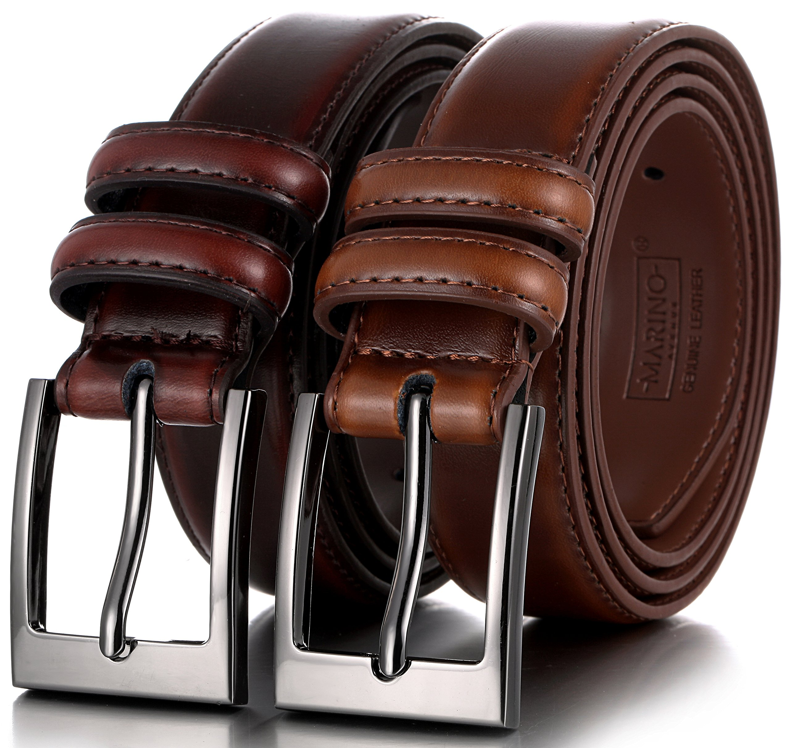 Marino's Men Genuine Leather Dress Belt with Single Prong Buckle - Pack of 2-1 Mahogany and 1 Burnt Umber - 54