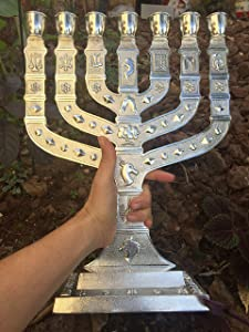 """Yaliland Large Authentic Menorah in Silver Plated with 12 Signs from Jerusalem 14"""" Inch Heigh"""