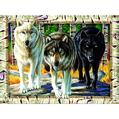 Wolf Pack Colors 1000 Pc Jigsaw Puzzle by SunsOut: Toys & Games