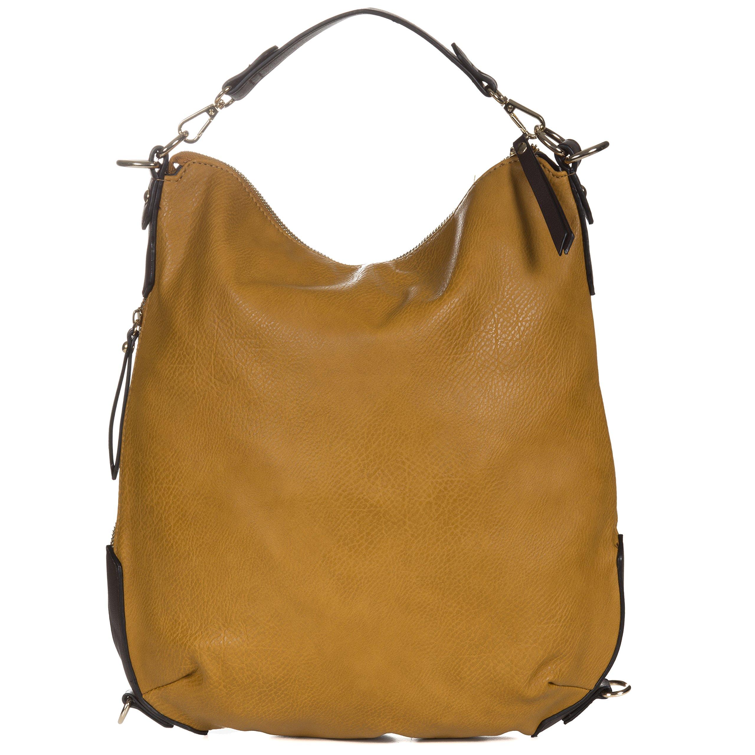 Handbag Republic Vegan Leather Women's PU Leather Designer Handbag Top Handle Tote Convertible Backpack (Mustard)
