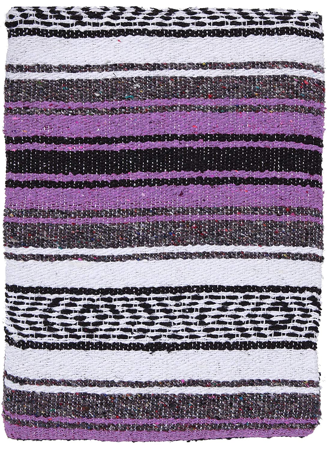 El Paso Designs Mexican Yoga Blanket Colorful 47in x 68in Yoga Studio Mexican Falsa Blanket Ideal for Yoga, Camping, Picnicking, Beach Blanket, Bedding, Home Decor Soft Woven Serape (Lavender)