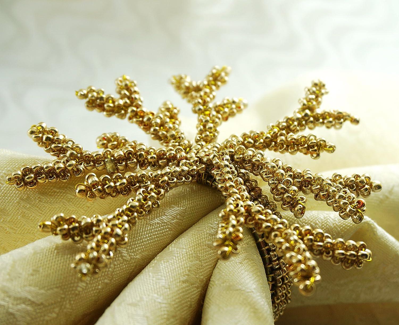 qn15121403ゴールドコーラルナプキンリング、結婚式ナプキンホルダー、4個セット   B01AL1NFNQ