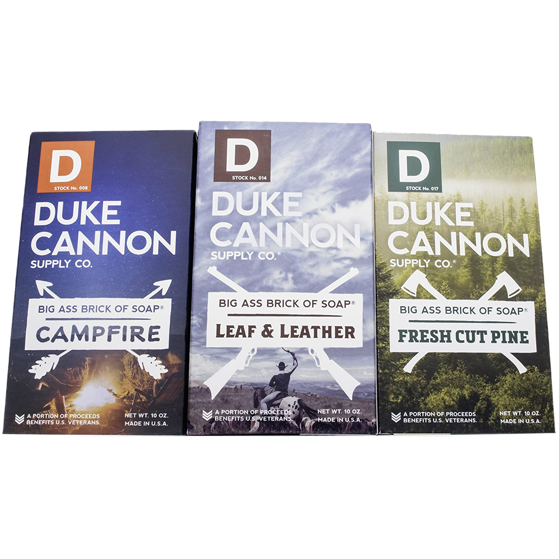 Duke CannonGreat American Frontier Men's Big Brick of Soap Set: Fresh Cut Pine, Leaf & Leather, Campfire