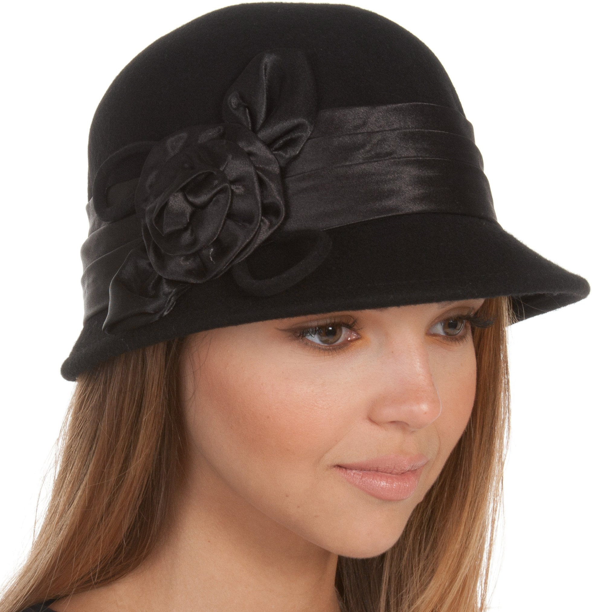 EH1121LC - Womens Vintage Style 100% Wool Cloche Bucket Winter Hat with Satin Flower Accent (6 Colors) - Black/One Size