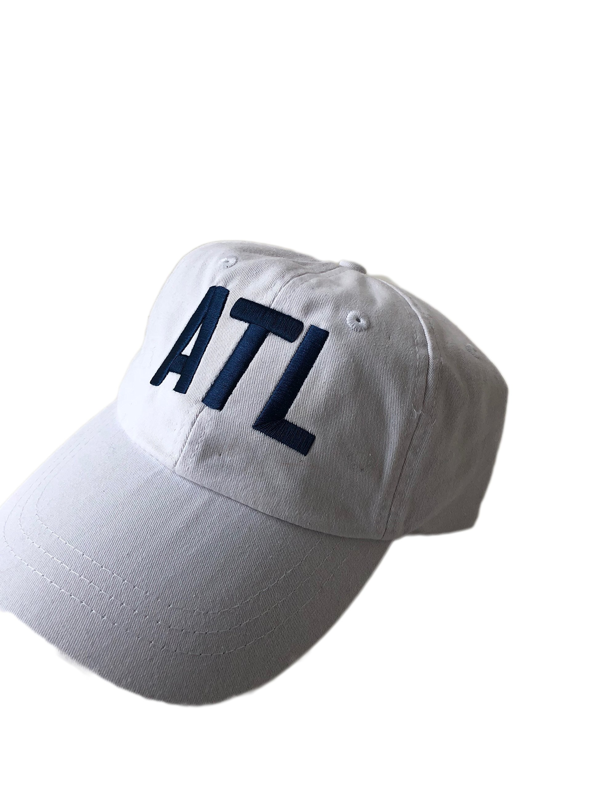 Mary's Monograms Embroidered ATL Airport Code White Baseball Hat With Blue Lettering