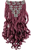 "PRETTYSHOP XXL Full Head Set 7 pcs 24"" Clip In Hair Extensions Hairpiece Wavy Heat-Resisting Burgundy red #burg CE27-1"