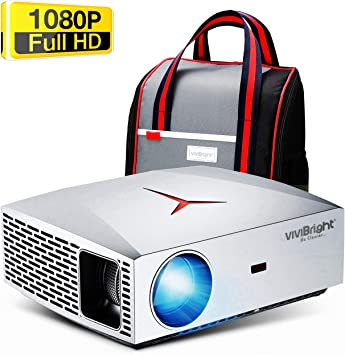 Xbox Projector Compatible with TV Stick AV VIVIBRIGHT F40 Native 1080P Full HD Projector USB PS4 HDMI HiFi Class Speaker with SPDIF 4200Lux 300 Display Home Theater Projector SPDIF