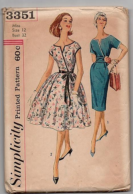 Simplicity 3351 Misses - Vestido de una pieza con dos faldas y ...
