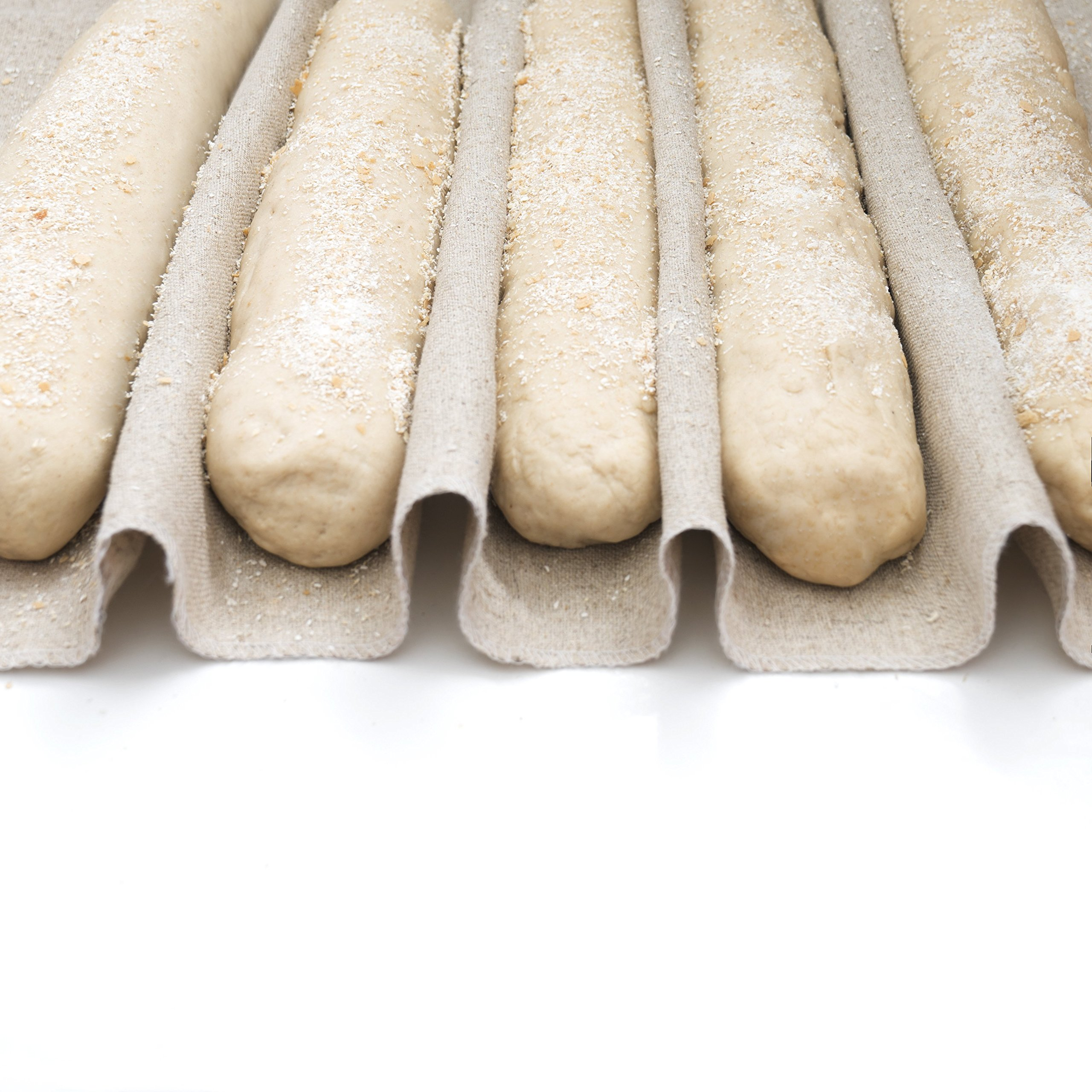 3-In-1 Set of Large Bakers Couche (35''x26'') + Dough Scraper + Linen Storage Bag - Professional Baguette Couche Baking Proofing Cloth - Rolling Dough Proofer Made of 100% Flax Linen Bread Cloche