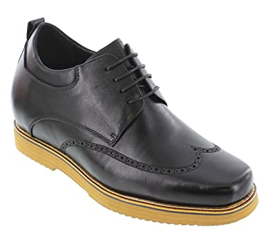 d41a4b74499 CALTO Men's Invisible Height Increasing Elevator Shoes - Black Premium  Leather Wingtip Lace-up Casual