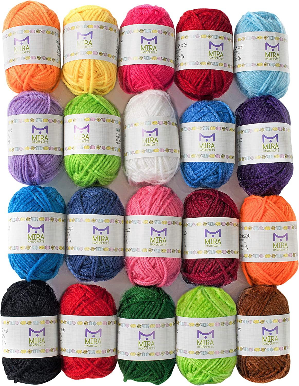 Knitting Crochet Yarn Lot Set Assorted Colors Craft DIY Starter Kit Yarn Skeins