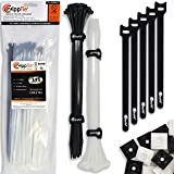 "Cable Ties by ZippTie | 115 pc Cable Tie Management Kit Heavy Duty 12"" White & UV Black 75lb Tensile Strength (Zip Ties) 