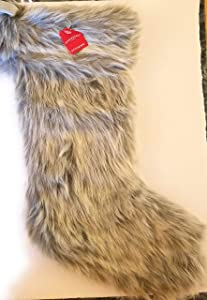 "Wondershop Large Gray White Faux Fur Christmas Holiday Stocking Measures 21"" Mantel Decorative Piece"