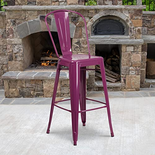 EMMA OLIVER Commercial Grade 30″ H Purple Metal Indoor-Outdoor Barstool