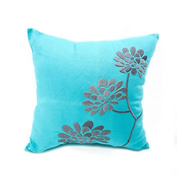 Amazon.com: Teal Gray Throw Pillow Cover, Gray Peony Flor ...