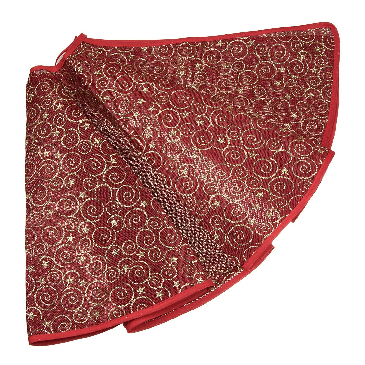 Dark Red and Gold Burlap Christmas Tree Skirt by Clever Creations | Gold Spirals and Stars | Traditional Theme Festive Holiday Design | Contain Needle and Sap Mess on Floor | 40'' Diameter