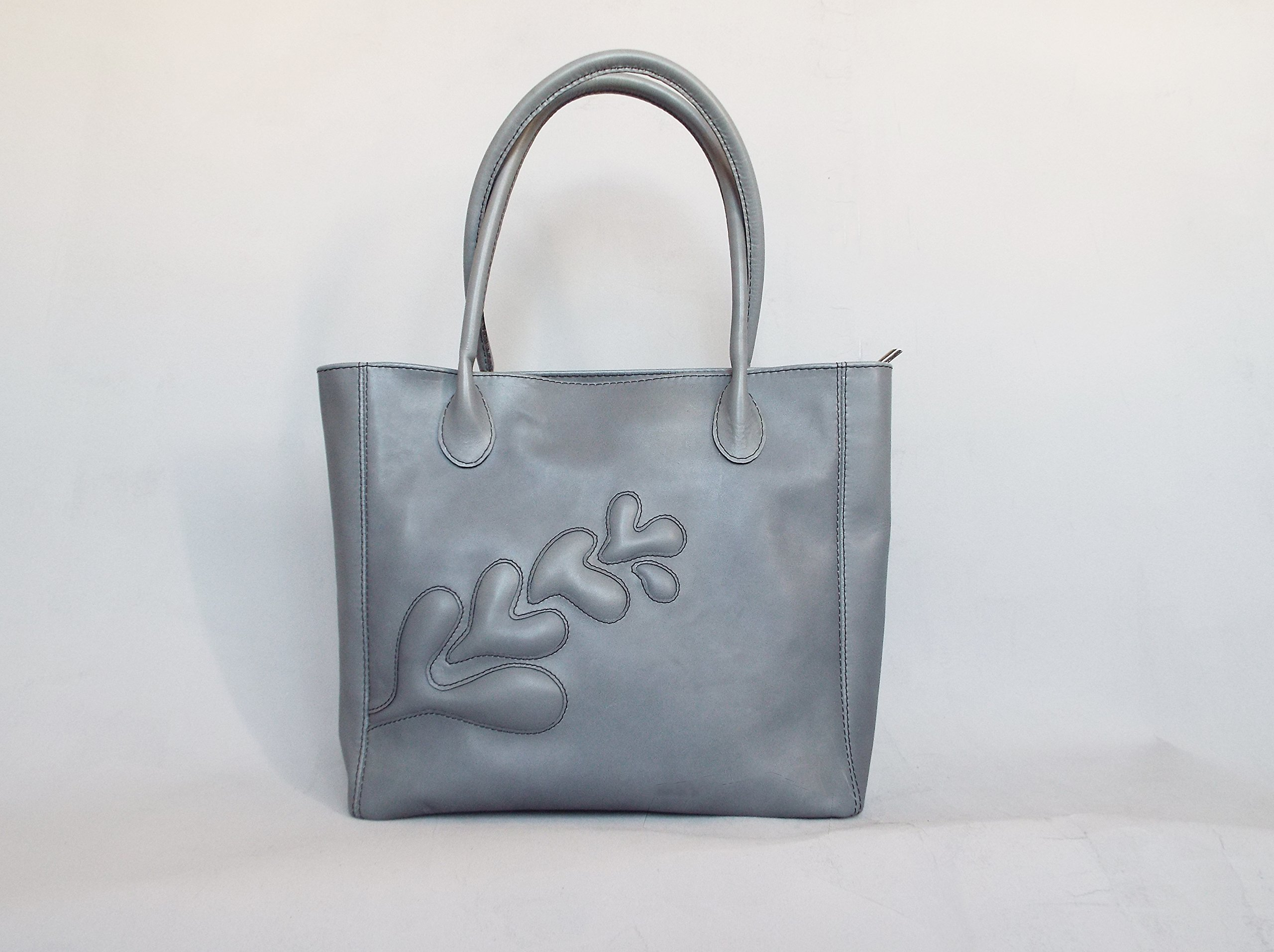 Leather tote bag. Grey leather bag. Applique leather bag. Gray shoulder bag leather. Gray leather tote, Leather handbag. Embossed leather bag.