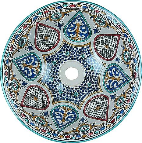 Plato grande de Rabat de ceramica marroqui, hecho en Fez y pintado a mano al