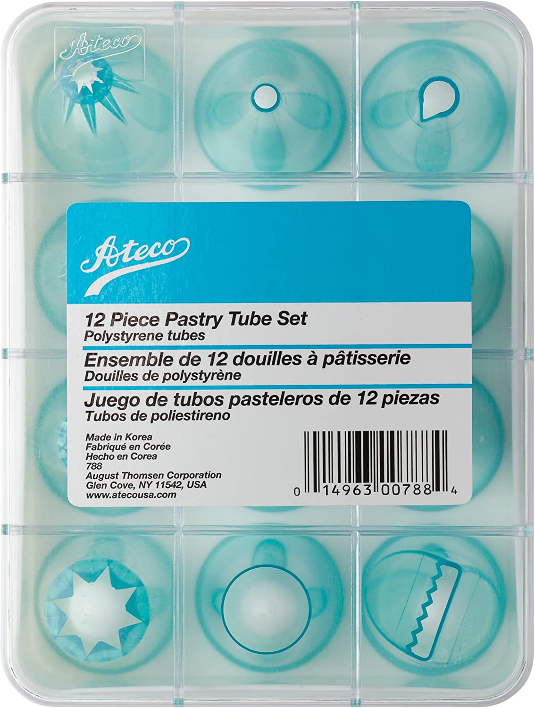 Ateco 788 - 12 Piece Cake Decorating Tube Set, High Impact Plastic Tubes in Storage Box,Silver