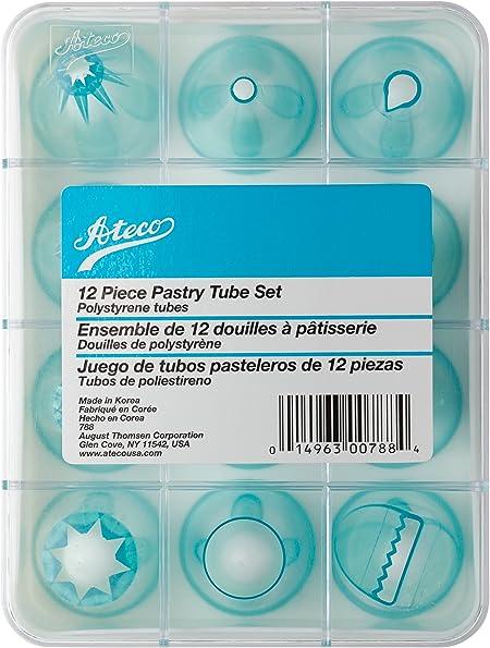 Ateco - Juego de tubos decorativos (55 unidades, acero inoxidable, con caja de almacenamiento incluida): Amazon.es: Hogar