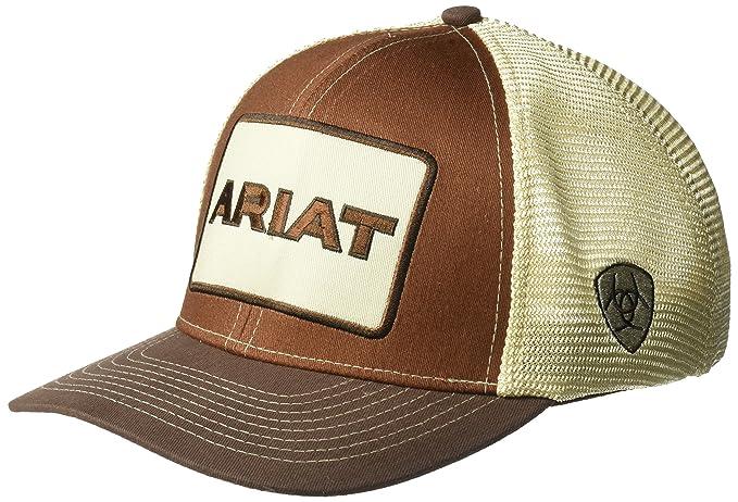 0067da37160427 Amazon.com: Ariat Men's Tan Center Patch Mesh Cap, Brown, OSFM: Clothing