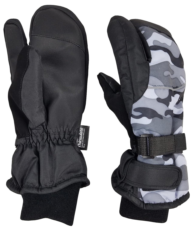 N'Ice Caps Men's Waterproof Trigger Finger Thinsulate Winter Mittens 4983-BK-MSM