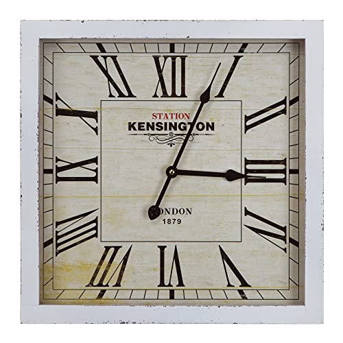 Yosemite Home Decor Square Wooden Wall Clock, White Frame, White Face, Black Text, Black Hands