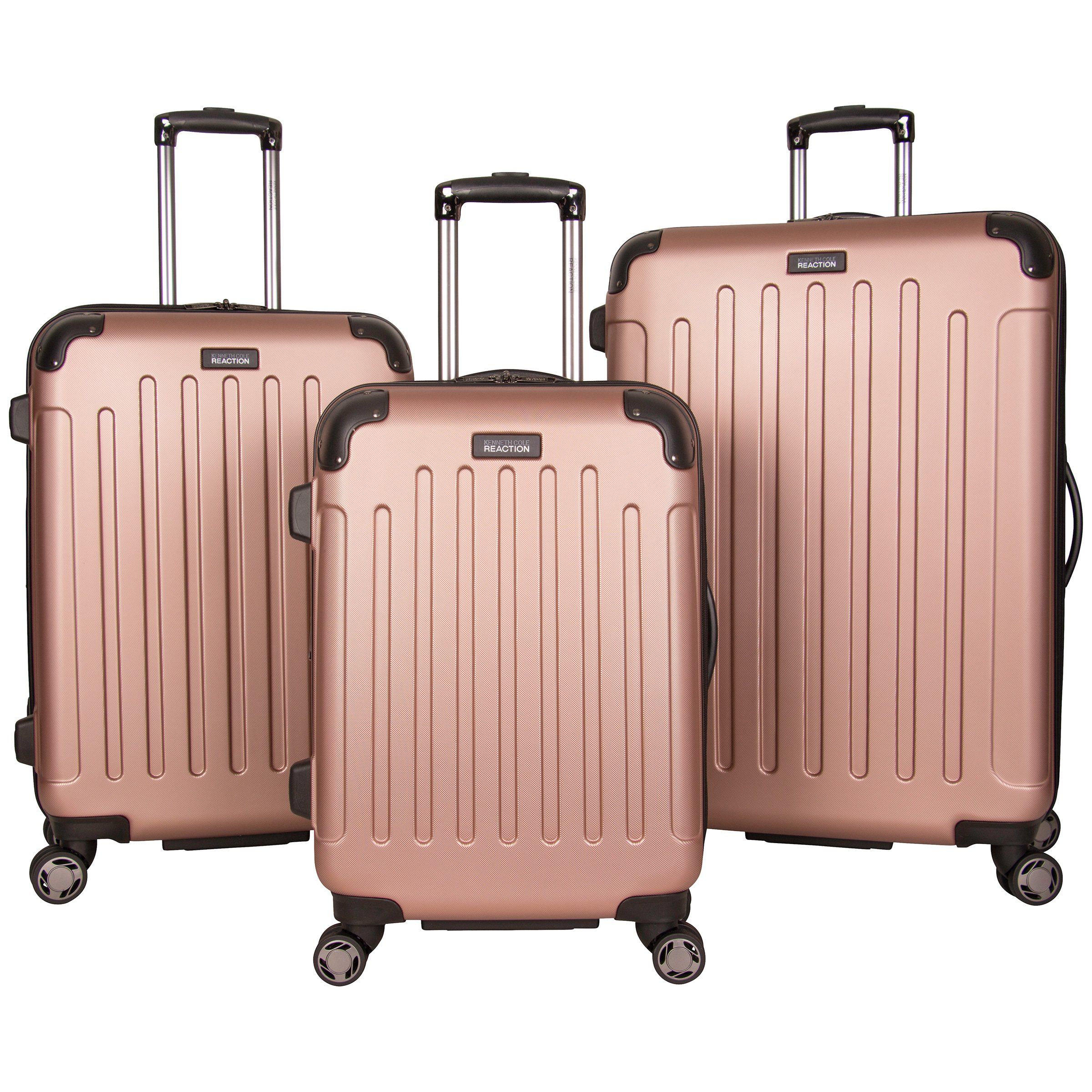 Kenneth Cole Reaction Renegade 8-Wheel Hardside Expandable 3-Piece Set: 20'' Carry-On, 24'', 28'' Luggage, Rose Gold
