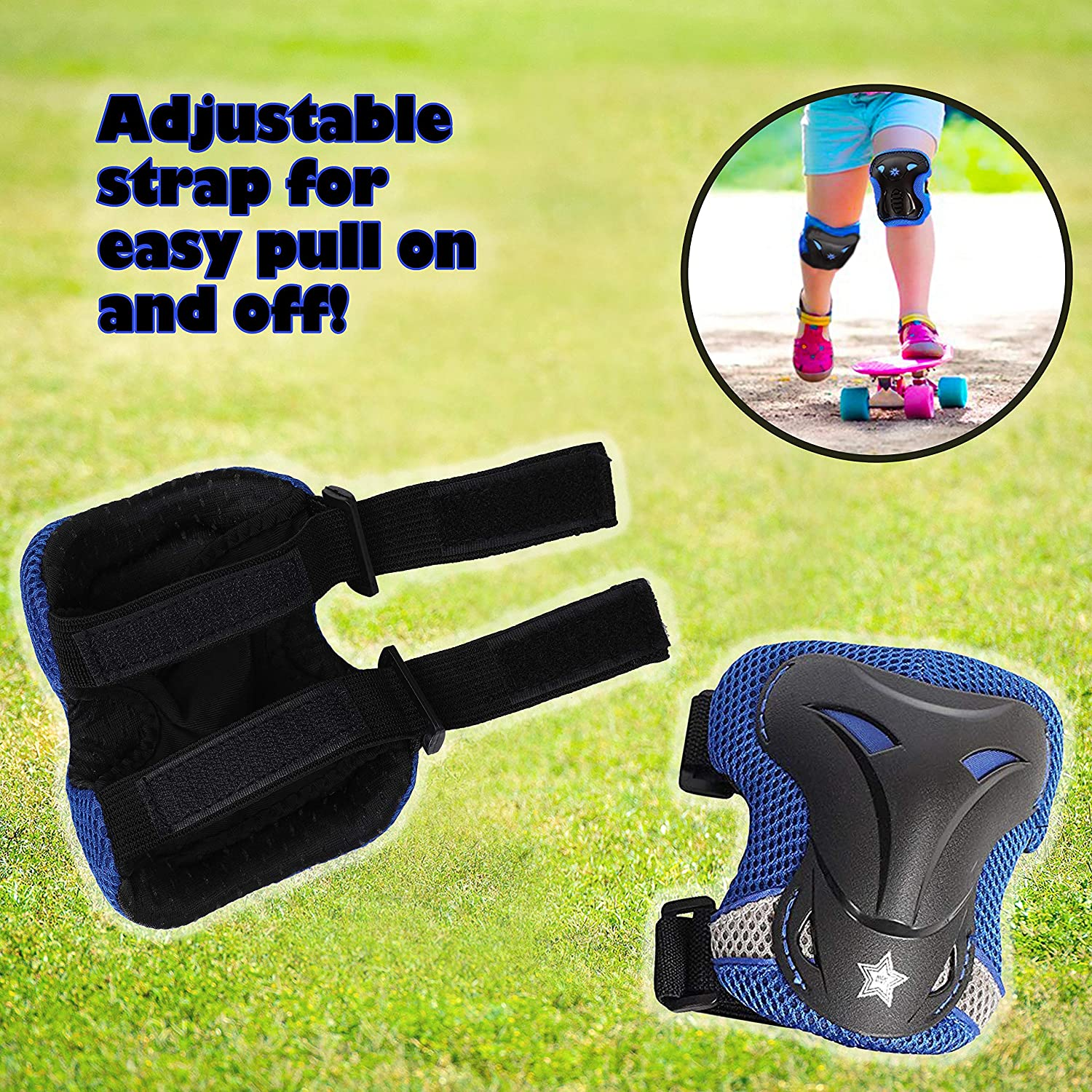 Riding Bicycle Cycling and Multi Sports Safety Protection: Scooter Rollerblades Skateboard High Bounce Knee Pads and Elbow Pads with Wrist Guards Protective Gear Set for Biking