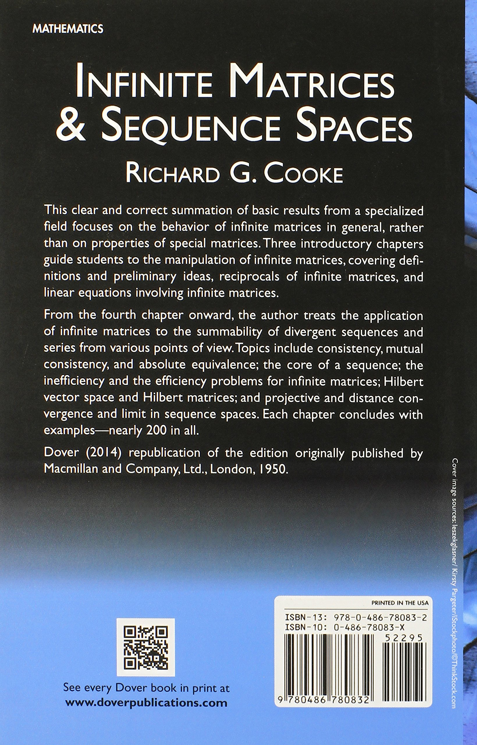 Infinite matrices and sequence spaces dover books on mathematics infinite matrices and sequence spaces dover books on mathematics richard g cooke 9780486780832 amazon books fandeluxe Gallery