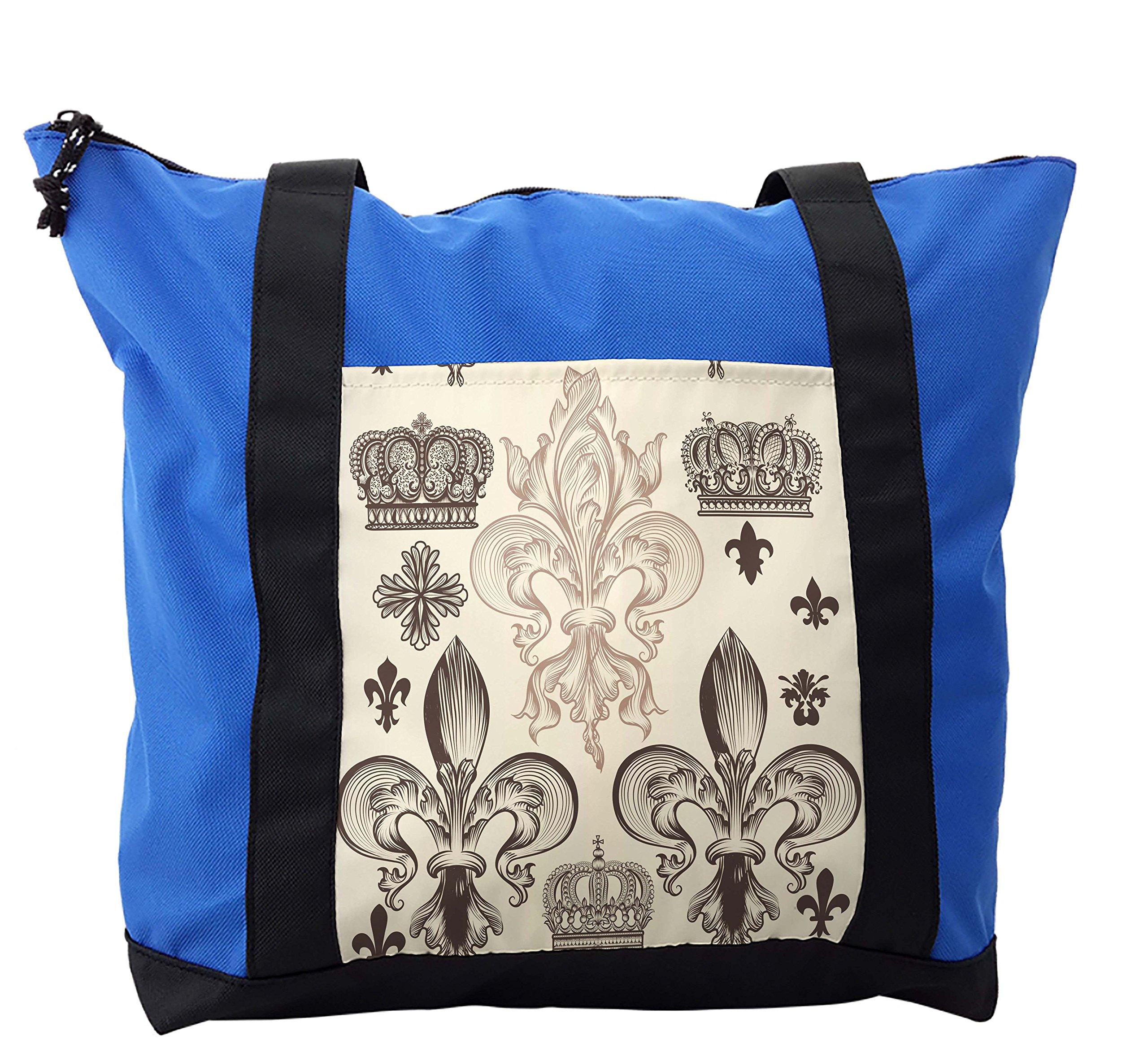 Lunarable Fleur De Lis Shoulder Bag, Heraldic Coat of Arms, Durable with Zipper
